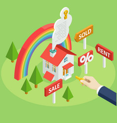 Flat symbols for ad about rent buy or sell a home vector