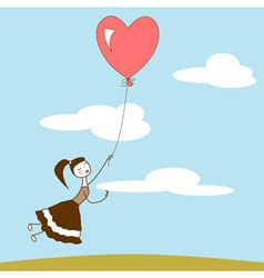 Girl holding the string of flying red balloon vector