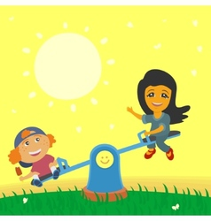 Children swinging on swings vector