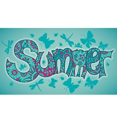 Summer text with flowers dragonflies beetles and vector