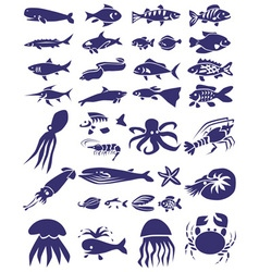 Fish and marine reptiles icons on white vector
