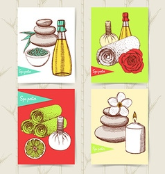 Sketch set of spa posters vector