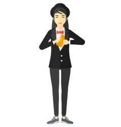 Woman putting envelope in pocket vector