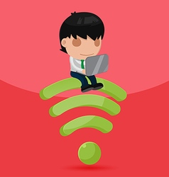 Business man work sit down wifi symbol vector