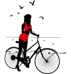 Elegant silhouette of pinup girl on a bicycle vector