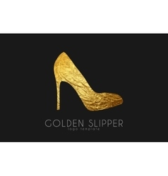 Golden slipper Princess slipper Elegant slipper vector image