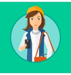 Woman using smartphone vector
