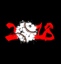 abstract number 2017 and baseball vector image vector image