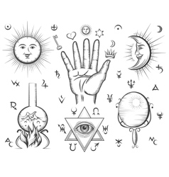 Alchemy spirituality occultism chemistry magic vector