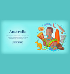 Australia travel banner concept cartoon style vector