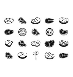beef icon set simple style vector image