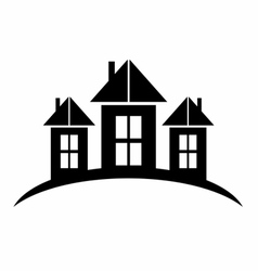 Black castle silhouette logo symbol vector