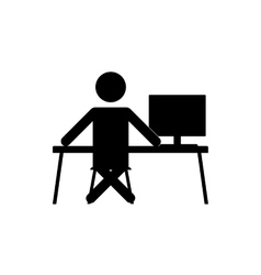 Businessman sitting at the computer vector