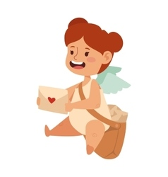 Cartoon postman angel girl holding mail heart and vector