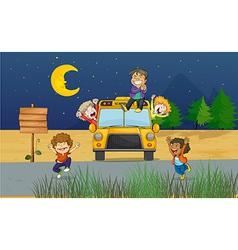 Cartoon schoolbus kids vector