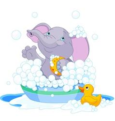 Elephant having a bath vector