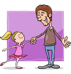 father and daughter cartoon vector image vector image