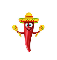 Festive smiling chili pepper with maracas vector