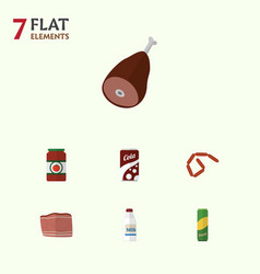 Flat icon eating set of beef ketchup fizzy drink vector
