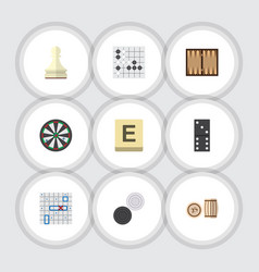 Flat icon games set of gomoku mahjong chequer vector
