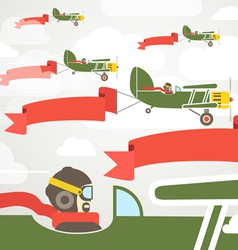Flying vintage group of planes with banners vector image