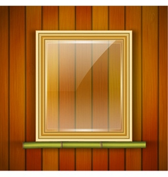 frame with glass on the wooden background vector image vector image