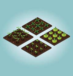 Garden in spring isometric icon set vector