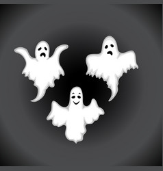 ghost set on a black background in the style of vector image