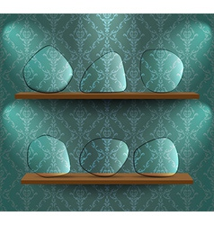Glass plates on the shelves vector
