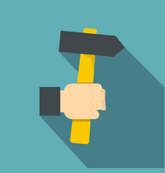 Hand hoding hammer with yellow tool icon vector