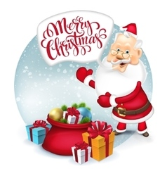 Happy santa clause with gift sack vector