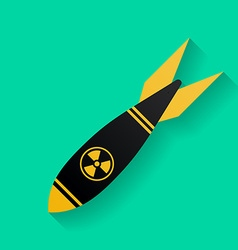 Icon of air bomb or missile with radiation sign vector