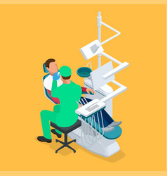 Isometric dentist examining mans teeth in the vector