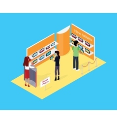 Isometric store tablets design flat vector