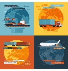 Logistic4 flat icons banner vector
