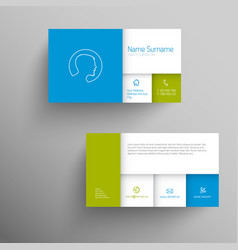 Modern blue green business card template vector