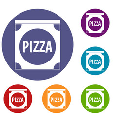 Pizza box cover icons set vector
