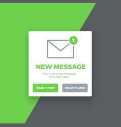 Pop-up new message screen vector