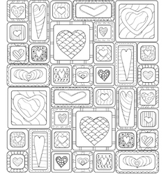 Seamless pattern of original drawing doodle hearts vector image vector image