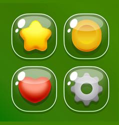 Set glass butons for mobile game ui vector image