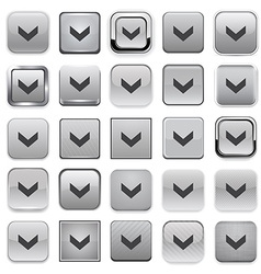 Square grey download icons vector