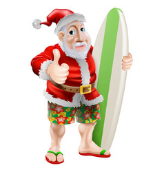 Thumbs up surfing santa claus vector