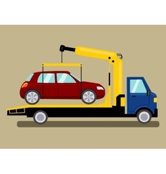 Tow truck takes away car cartoon vector