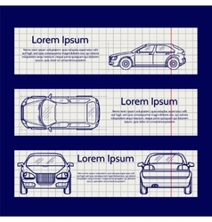 Web banners with car silhouettes vector