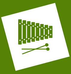 xylophone sign white icon obtained as a vector image vector image