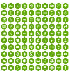 100 stadium icons hexagon green vector