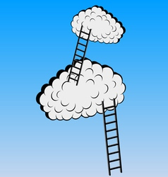 Clouds with stairs vector image