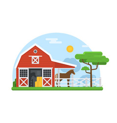 horse stables in flat design vector image