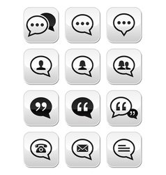 Speech bubble blog contact buttons set vector image
