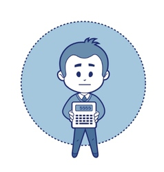 Character accountant with calculator vector